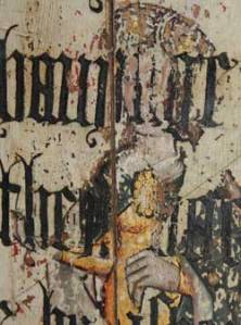 St Mary Magdalene obscured by lines from Cranmer's 1539 Bible. from the Rood Screen at Binham Priory, Norfolk.
