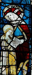 St Anne teaching the Virgin to read. Stained glass window at All Saints' Church, North Gate, York.
