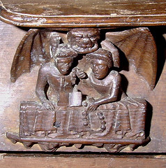 Tutivillus with two gossips, at Enville Church in Staffordshire.
