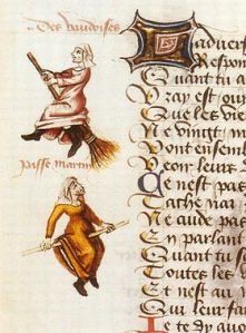 Witches in the margins. Paris, Bibliothèque nationale de France, MS. Fr. 12476 (Le Champion des Dames)