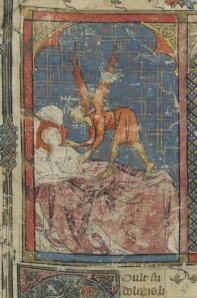 A devil seduces the mother of Merlin. Paris, Biblotheque National de France, MS Arsenal 3842, p. 1