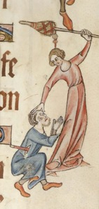 London, British Library MS Add. 42130, f. 60. A woman attacks her husband with her distaff. Spinsters: no wonder men hate them.