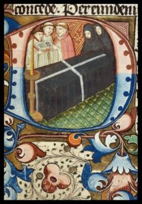 Image of the Funeral Rites, in a Book of Hours of c. 1460. London, British Library, MS Harley 2287, f. 80r