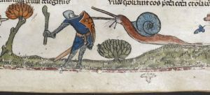 Really not such a hero. Knight fighting a snail in London, British Library, MS Royal 10. E. IV, f. 107r