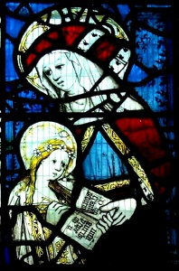 St Anne teaching the Virgin to Read. Stained Glass Window at All Saints Church, North Street, York