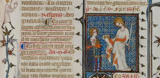 Marie, pictured in her Book of Hour. Cambridge, University Library, MS Dd.5.5