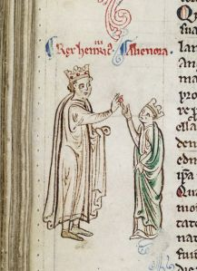 Matthew Paris, Historia Anglorum, England (St Albans), 1235-1259, Royal 14 C. vii, f. 124v. Henry III marrying a glum-looking Eleanor of Provence