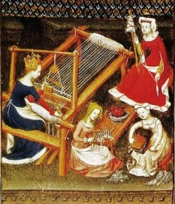 Women spinning and weaving together in Boccaccio, Le Livre des cléres et nobles femmes. From Paris, Bibliotèque Nationale de France, MS Fr. 12420, fol. 71. c. 1403.