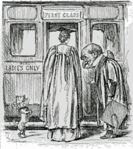 Punch Cartoon from 1887. Miss Ramsay is shown into a railway carriage marked 'First Class - Ladies Only'