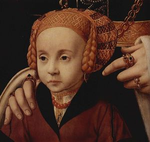 For example, check out how many rings this girl's mother is wearing! Portrait of A Lady With Her Daughter, Barthel Bruyn the Elder (c. 1540). Image from wikipedia commons.