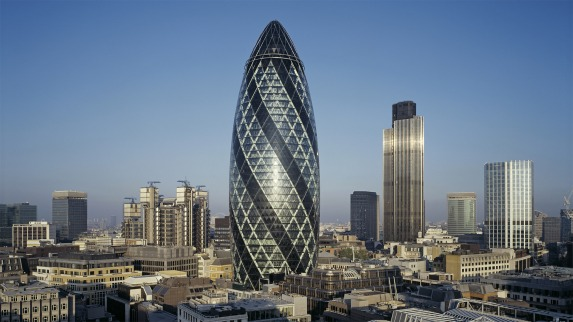 The Gherkin. Admittedly, feminists don't all agree with me how phallic it is, but in my mind it is always associated with Lord SurAlan and his Neanderthalism, so it's a happy image.