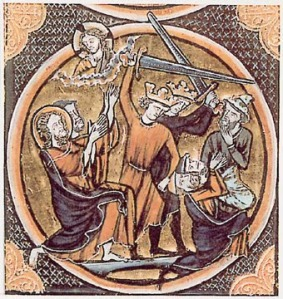 Crusaders slaughter Jewish men. French Bible Illumination, taken from this site.