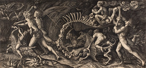 Agostino Veneziano (fl. 1509–1536), The Witches' Rout (The Carcass). Engraving, c. 1520. Exhibition Poster for 'Witches and Wicked Bodies' at the British Museum