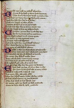 Chaucer's Alphabet Poem. From Glasgow, University Library, MS Hunter 239, f. 81r.