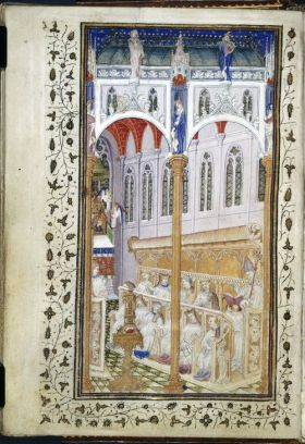 Church interior, from the Psalter of Henry VI (London, BL MS Cotton Domitian A. XVII, f. 12v). Henry VI initiated the building of King's College Chapel.