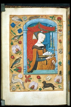 St Margaret, reading. From Anne Boleyn's Book of Hours, London, BL, King's MS 9, f. 62v.